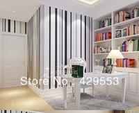 0.53m*10m Brief black and white vertical stripe wallpaper bedroom wallpaper tv background wall stripe