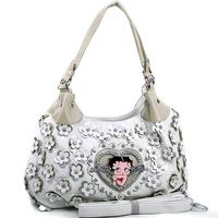 Bag Betty Boop Women Leather Handbags Hobos Bag with Rhinestone Florets