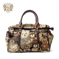 New 2013 Danny bear Teddy bear bags quality women messenger bag vintage  travel bag white collar women's handbag Designer brands