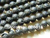 Free shipping (5 strands/lot)  8mm lava black beads bracelet chunky beads pendants