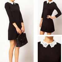 Sexy Slim Lady Woman lace collar dress Black Mini Dress S M L W3052