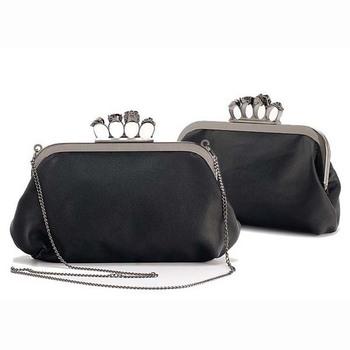 Women Finger Knuckle duster Ring diamond Skull frame black Day Clutch Evening purse Bag,Punk Designer item