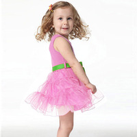 FreeShipping New Girls Princess One Piece w/Belt Tutu Dress Cotton Clothing Size 1-6Y XL135 DropShipping