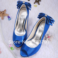 Top Selling Sexy Dark Blue Elegant Wedding Shoes Bow Free Shipping Dropship Custom