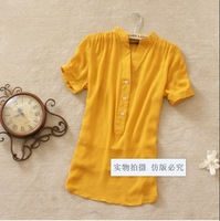 Hot new European and American vintage single breasted women's 2014 candy color short sleeve casual shirt blouse