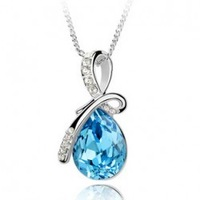 Angel Tears Drop Exquisite Large Crystal Necklace Female Short Design Chain Fashion Accessories b39