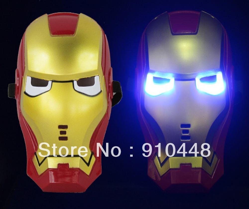 Frete grátis 2pcs Natal / lotes LED Máscara Incandescente Luz Homem de Ferro para a festa de Halloween do partido do disfarce e da festa de aniversário(China (Mainland))