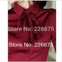 Fashion Women's ruffle chiffon shirt female long-sleeve slim ol turn-down collar plus size blouse white wine red