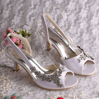 Top Quality 2013 Women Wedding Bridal Shoes Rhinestone Flower Slingback Lady's Prom High Heels Summer Sandals