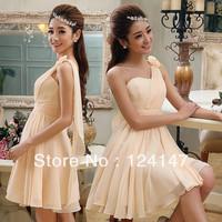 AQ Fashion One shoulder formal dress short design bridesmaid  oblique dress bridesmaid dress bridal  red
