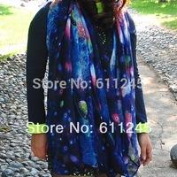 Min order is usd15 Free Shipping High Quality Harajuku Tone  Fashion Galaxy Printed Women's Polyester Scarf