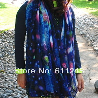 Min order is usd15 Free Shipping High Quality Harajuku Tone  Fashion Galaxy Printed Women's Neck Scarf