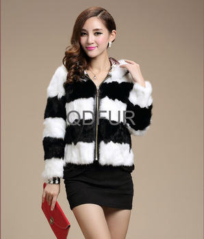2013 Fashion Ladies Genuine Rabbit Fur Jacket with Hoody Women's Short Outerwear Free Shipping QD28123