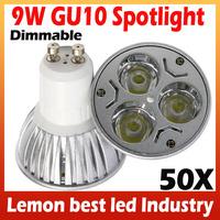 Dimmable Lamp 9W GU10 LED Bulb Spotlight Warm White Cool White for living room illumination 50pcs/lot Freeshipping