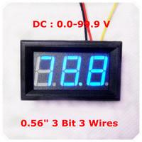 """Blue LED Display Color  0.56"""" Digital Voltmeter DC:0-100V Three wires 3 bit car Voltage Panel Meter [ 4 pcs / lot]"""