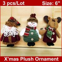3PCS/LOT Christmas Stuffed Ornaments Plush Toys Santa Claus Snowman Reindeer Xmas Tree Hangings Decoration Home Decor WHOLESALE