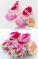 Free Shipping 1 Pair  Baby Girl Kids Newborn  Children Infant Rose Lace Bowknot Crib Shoes Prewalker First Walkers Hot Pink 13CM