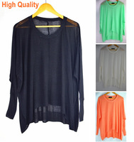Autumn Women Big Size Candy Colors Long Pullovers, NEW 2014  Lady Long Sleeve Irregular Hem Designed Loose Sweater ,Clearance