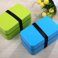 Small Japanese Bento Lunch Box for Kids Food Container Sushi Set Lunchbox w/ Belt Plastic Food Box Microwave Solid Blue & Green