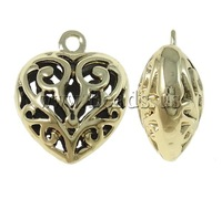 Free shipping!!!Zinc Alloy Heart Pendants,Vintage Jewelry, gold color plated, hollow, nickel, lead & cadmium free