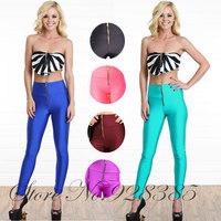 2013 Fall New Women Fashion High Waist Front Zipper Leggings Shinny Skinny fit Solid Neon Leggins Treggings Pants #BS020