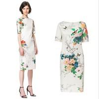 Free shipping 2014 new European and American women's wholesale fashion peony flower bird print dress