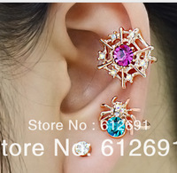 Fashion clip on earrings Spider ear cuffs color crystal spider web earring girls earrings 2014 jewelry wholesale LM-C237