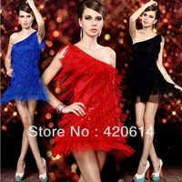 2014 Summer Hot New Sequins Stages Nightclub Bar Lady DS Costumes Pole Dance Latin Women Dance Costumes, Tassel Prom Dresses 253