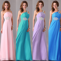 Fast Shipping Popular Chiffon One Shoulder Formal Long Evening Dresses Blue Purple Pink Red Green Prom Dress Party Gown 2949