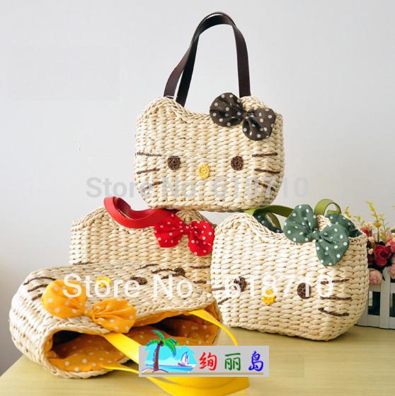 Free shipping 6 colors Free shipping 6 colors hello kitty straw bag fashion woven handbag women totes beach bags[240113](China (Mainland))