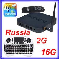 Rii i8 Russian keyboard Air Mouse + MINIX NEO X7 RK3188 Mini pc Quad Core android 4.2 tv box RJ45 XBMC 2G/16G SD Card