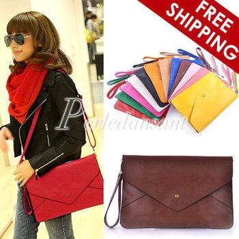 Women Lady's Fashion Envelope Clutch Messenger Cross Body Chain Purse HandBag Shoulder Hand Tote Bag PU Leather BG0001