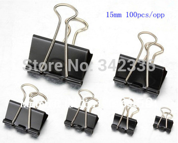 15mm Black Metal Documents Binder Clips/Memo Clip, Office Accessories, School Binders Supplies, Free shipping!