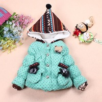 Free Shipping-2013 Winter New Style Girls Wave Point Super Soft Cotton Fabric Cotton Dress.High Qualirty And Fashionable .