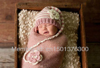 Free shipping Cute elf style baby hat handmade crochet photography props newborn hat