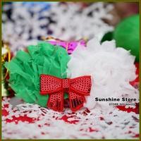 Sunshine store #2B2284  10pcs/lot(green red white)baby headband girls shabby rosset Sequins bow headband Christmas headwear CPAM