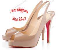 Туфли на высоком каблуке pink/black red bottom heels patent leather peep toe lady's slingbacks pumps 12cm high party single shoes