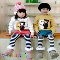 Retail boys girls clothing sets for autumn spring bear t shirt with striped pants cotton good quality children clothing