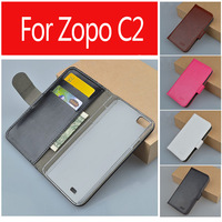 Leather Case Cover For ZOPO C2 ZP980 With Stand And 2 Credit card slots + 1 pouch slot,4 colors ,Free Shipping