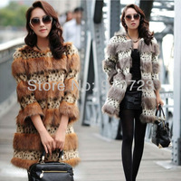 Factory Outlet Top Quality Leopard Fox Faux Fur Coats in Women's Short Sleeve Winter Lady Outwear Plush Coats Cool Female