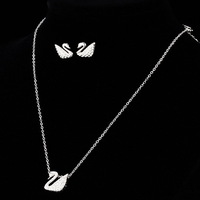 NICETER Elegant Style Swan Necklace And Stud Earrings With Top Quality Swiss Cz Diamond Fashion For Bridal Jewelry Sets JS005