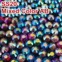Mixed Colors AB! 5colors SS20 4.6-4.8mm 10Gross/Bag DMC HotFix FlatBack Rhinestones Hot Fix iron-on Garment Crystal Rhinetsones