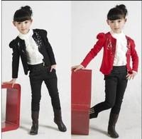 Children's clothing female child 2013 autumn short design paillette blazer set small suit jacket
