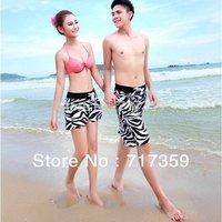 1X Fashion New 2014 Summer Men/Women's Lovers Beachwear Swimwear Zebra Printed Beach Surf Board Shorts Plus Size L/XL/XXL 652784