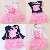 FREE SHIPPINGA 5pcs/lot Pink Cartoon Peppa pig yarn dress children dress yarns 100% cotton girls onepiece Long & short sleeve
