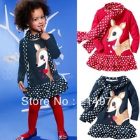 freeshipping!Children's clothing Baby Sets Cute Fawn Deer dot long-sleeved dress + Scarf Muffler baby Clothes suits 5sets/lot