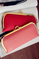 FREE Shipping  fashion women long style brand  gold metal hasp buckle wallet PU material  Ladies coin purse  Clutch Wallets