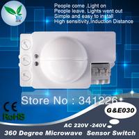 Free Shipping Microwave Motion Sensor Switch Doppler Radar Wireless Module for Lighting 220V 360 Degree 5.8GHz wholesale
