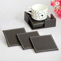 Kitchen dining&bar coasters coffee leather insulation pad coffee tea mat brown coasters for ikea for starbucks  free shipping