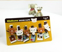 Wooden stationery cartoon wooden clip relaxed bear notes folder 6pcs/lot A100